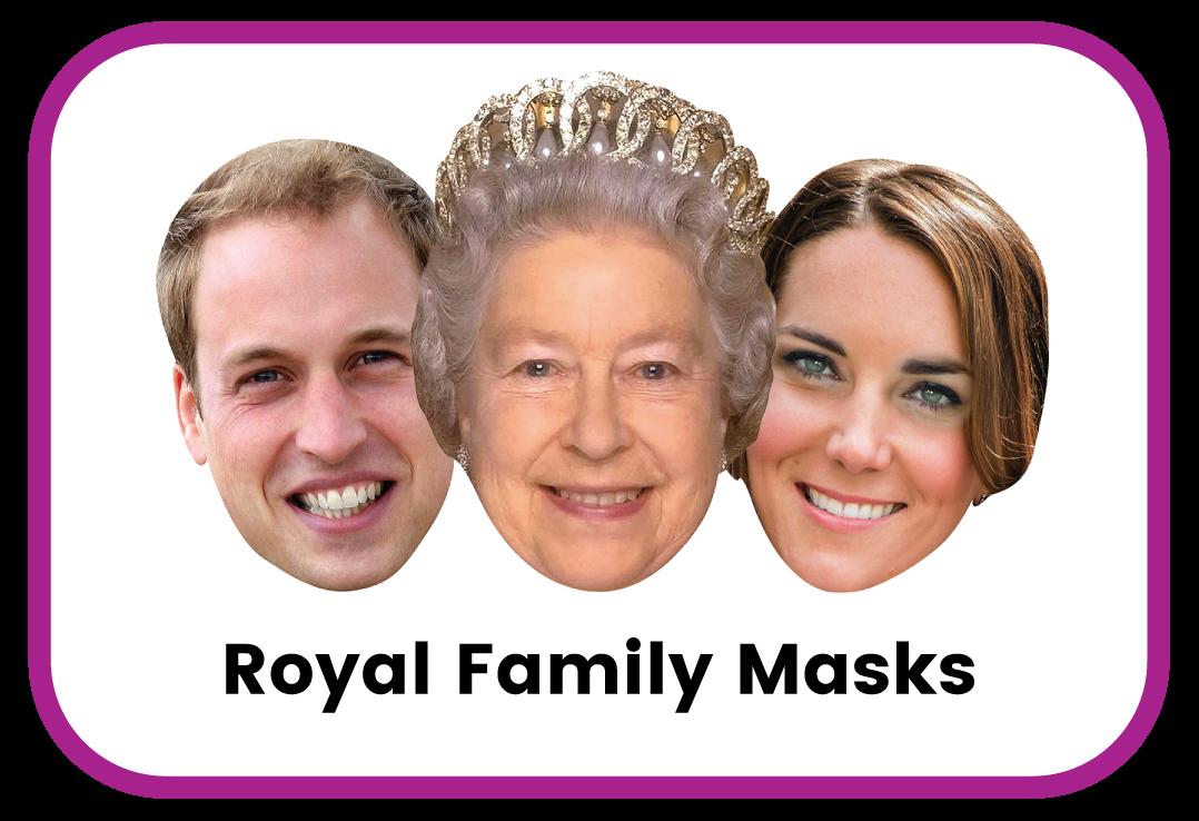 Royal family cardboard masks