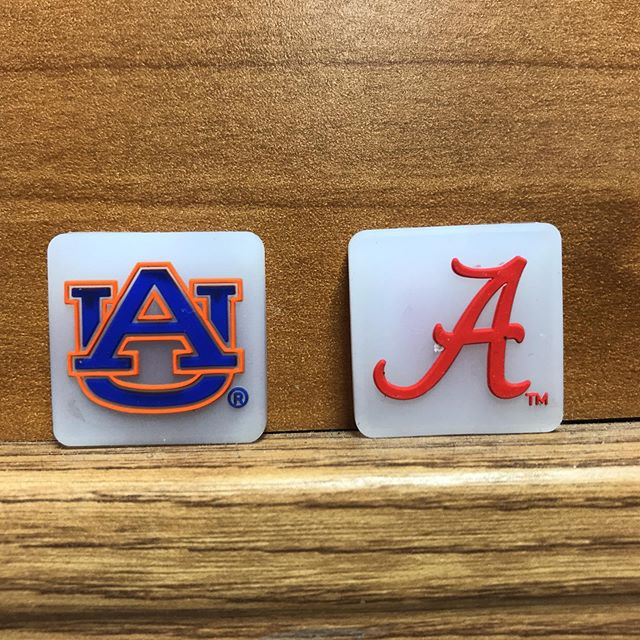 Brand new Auburn and Alabama dampeners. Limited run. Only 50 of each. Get them at Players Choice tennis in Birmingham