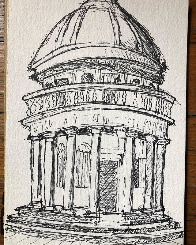 Staying inspired with a quick field sketch of St Peter's Tempietto by Donato Bramante circa 1500, Rome Italy............ #inspiration #architecturalsketch #sketching #renaissance #renaissancearchitrcture #keepdrawing #architecture #freehand  #rome #italy #travelsketchbook #travelsketch #architecturaldrawing