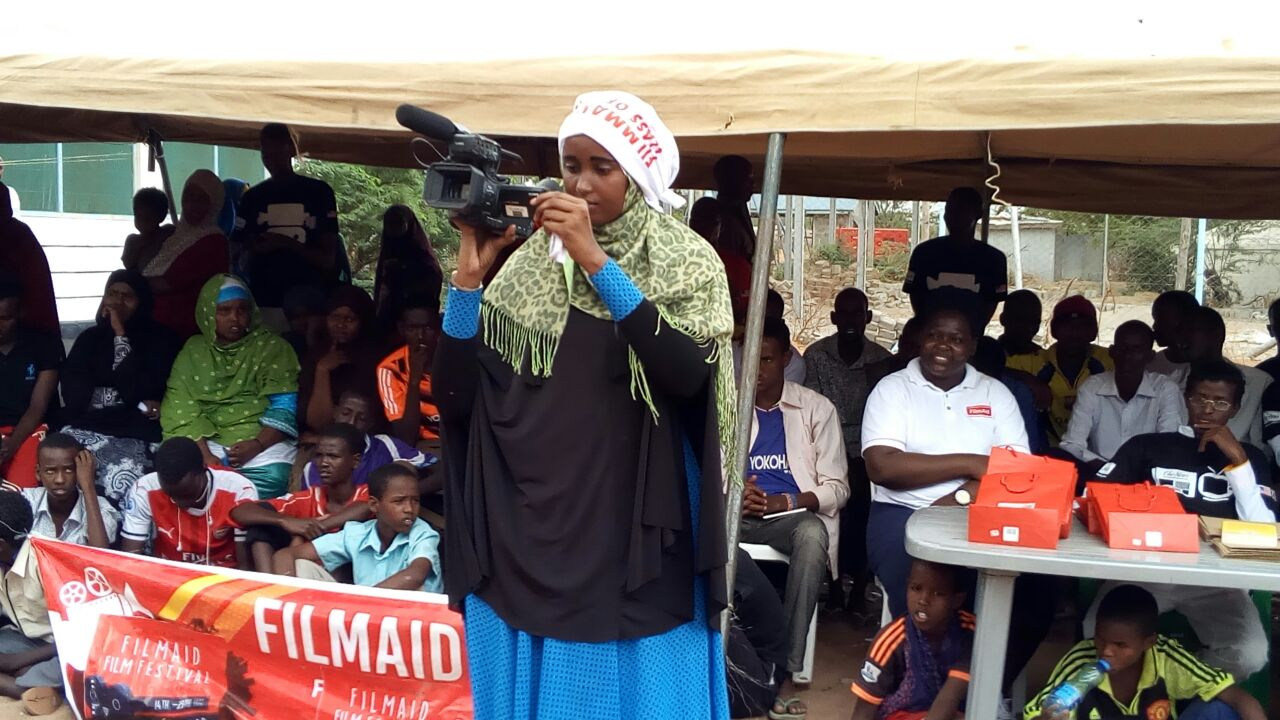 FilmAid student filmmaker, editor, writer, Maria Noor Ahmed, 19 at the FilmAid Film Festival in Dadaab Refugee Camp.