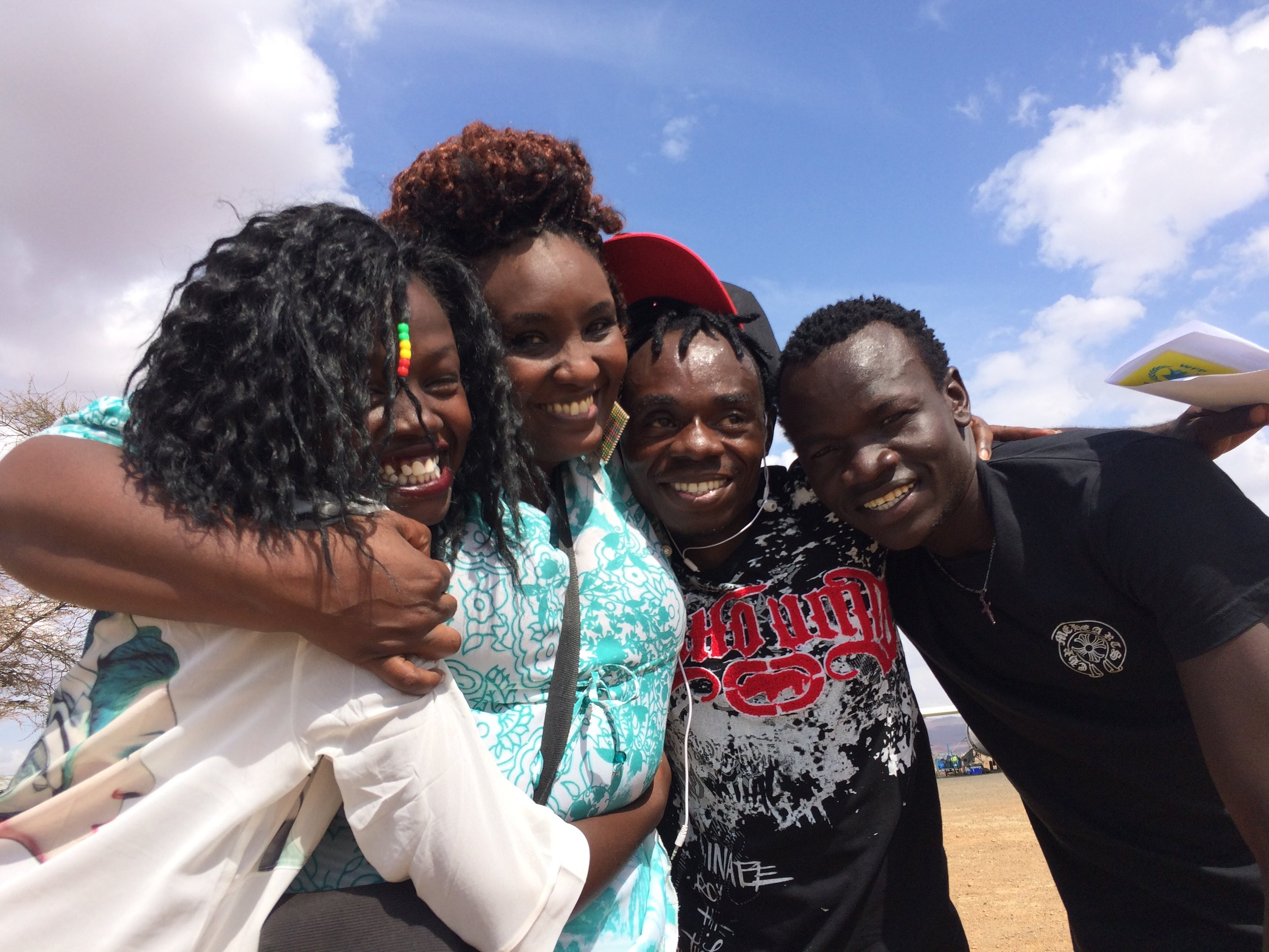 (From right to left) Maya, Journalism Award Winner; Perpetua, FilmAid Field Manager, Kakuma; Justin, Filmmaking Award Winner; Isse, Journalism Award Winner.
