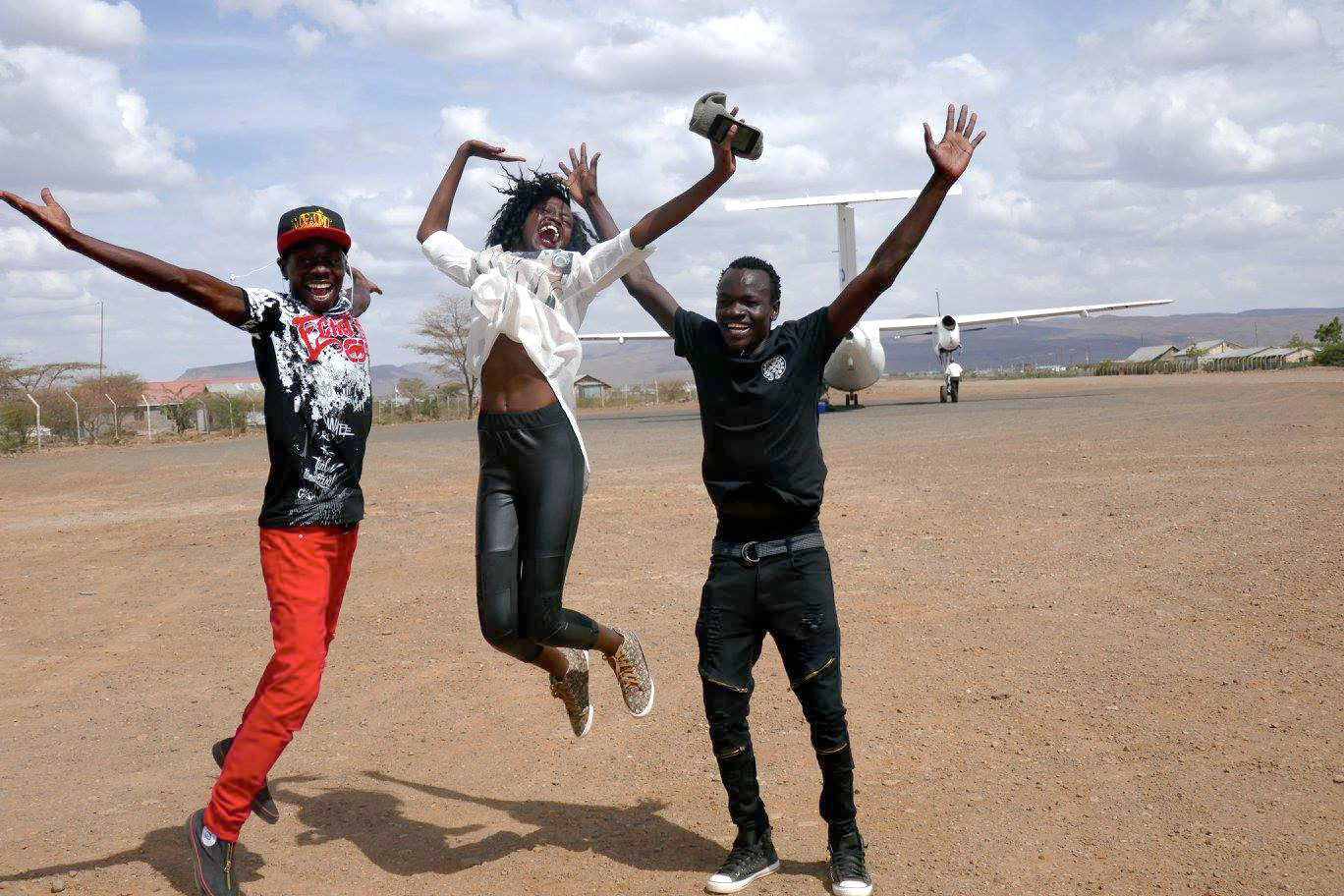 FilmAid   storytellers Justin, Maya and Isse just before boarding the plane from Kakuma to Nairobi.