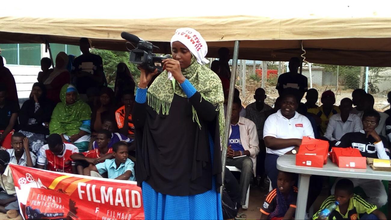 Maria at FilmAid Film Festival in Dadaab Refugee Camp, Kenya