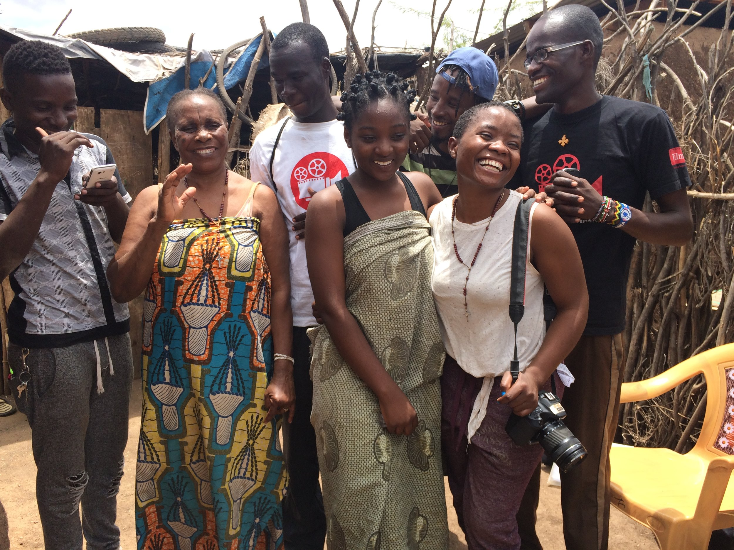 Amina on the set with her cast and crew of  It Has Killed My Mother,  Kakuma Refugee Camp, October 2017