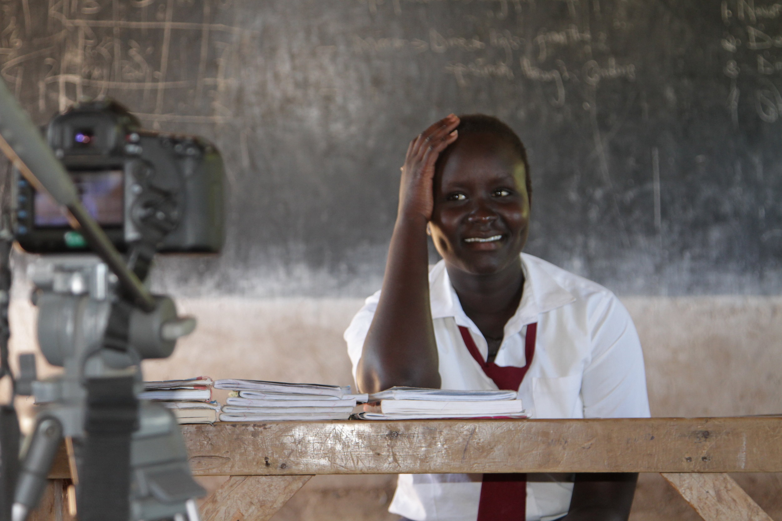 Ann Nyandeng, on set in Kakuma Refugee Camp