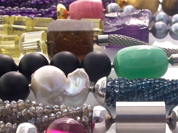Mixed gemstone necklaces and clasps