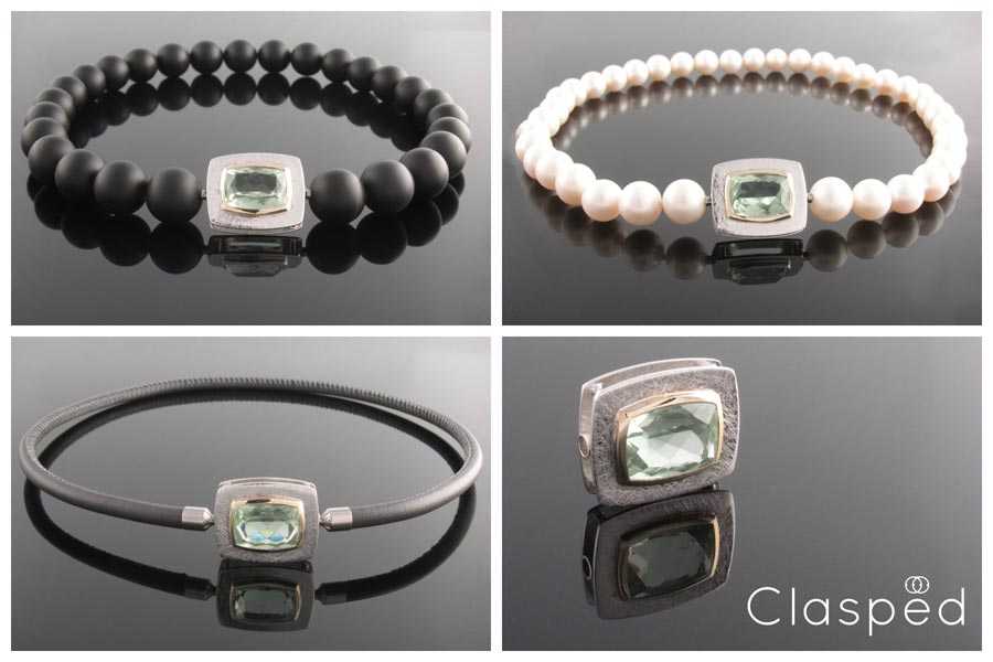 Cushion cut green amethyst clasp on  pearls ,  onyx  and  leather