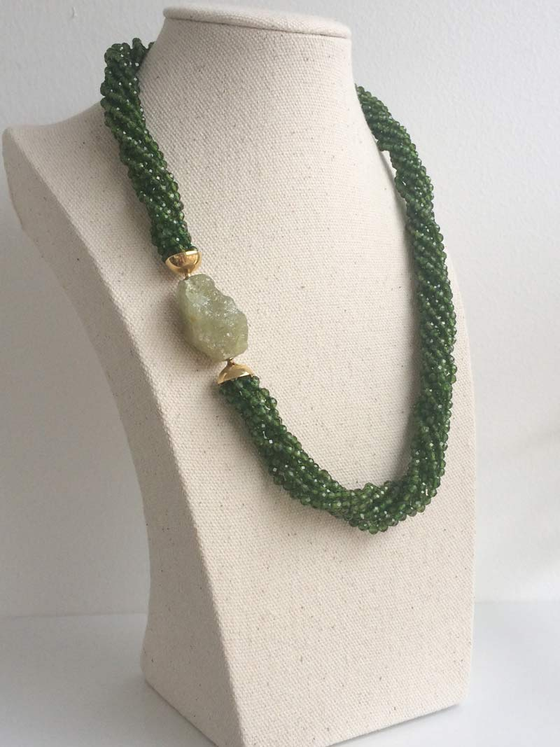 Chrome diopside multistrand necklace with interchangeable rough green garnet clasp