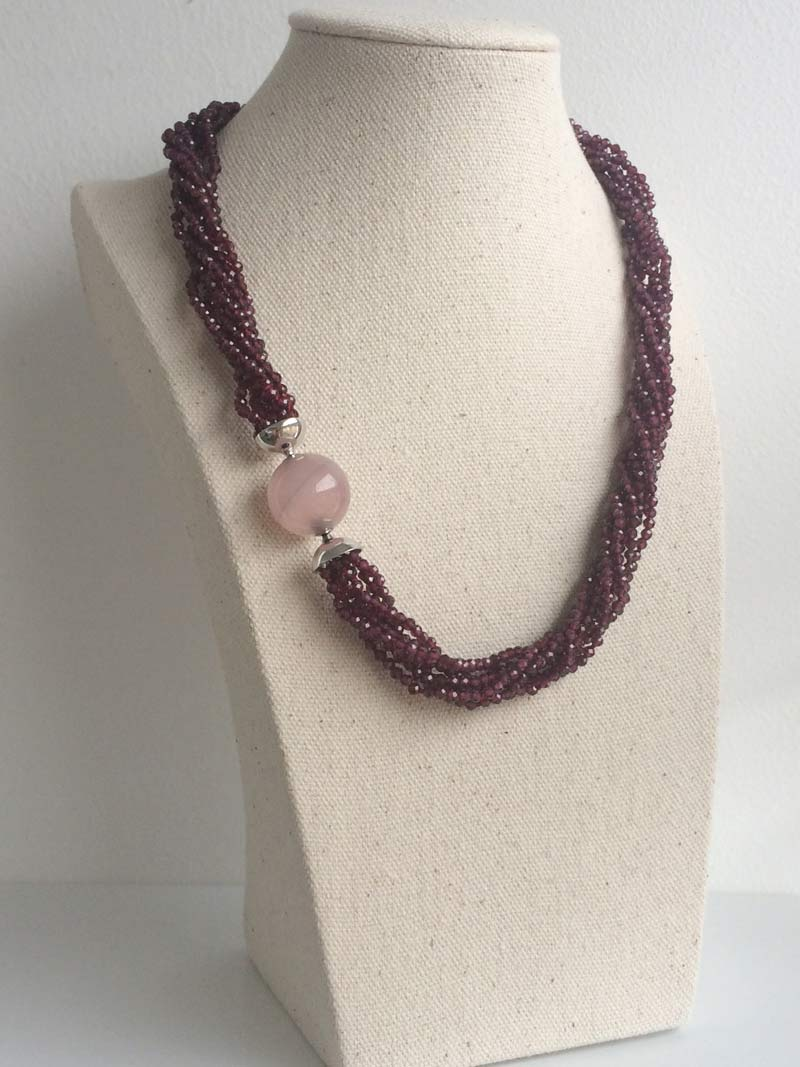 Faceted garnet multistrand necklace with 18mm interchangeable  rose quartz  ball clasp