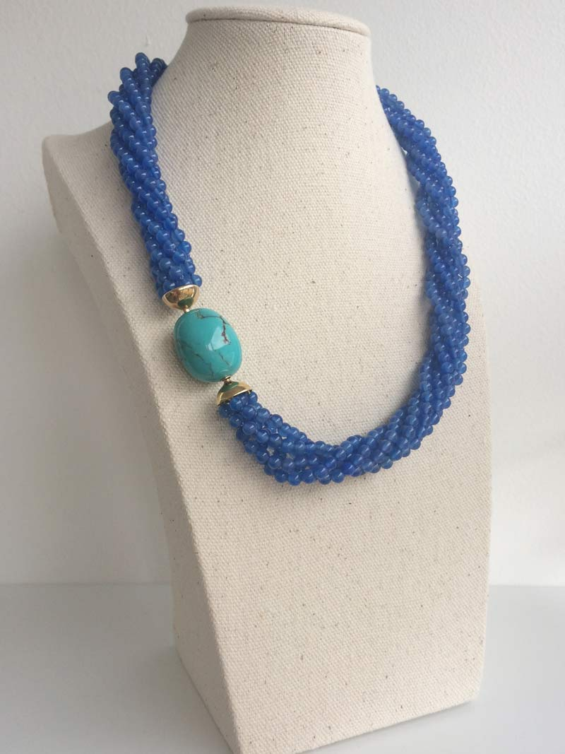 Blue agate multistrand necklace with interchangeable  turquoise ovoid  clasp