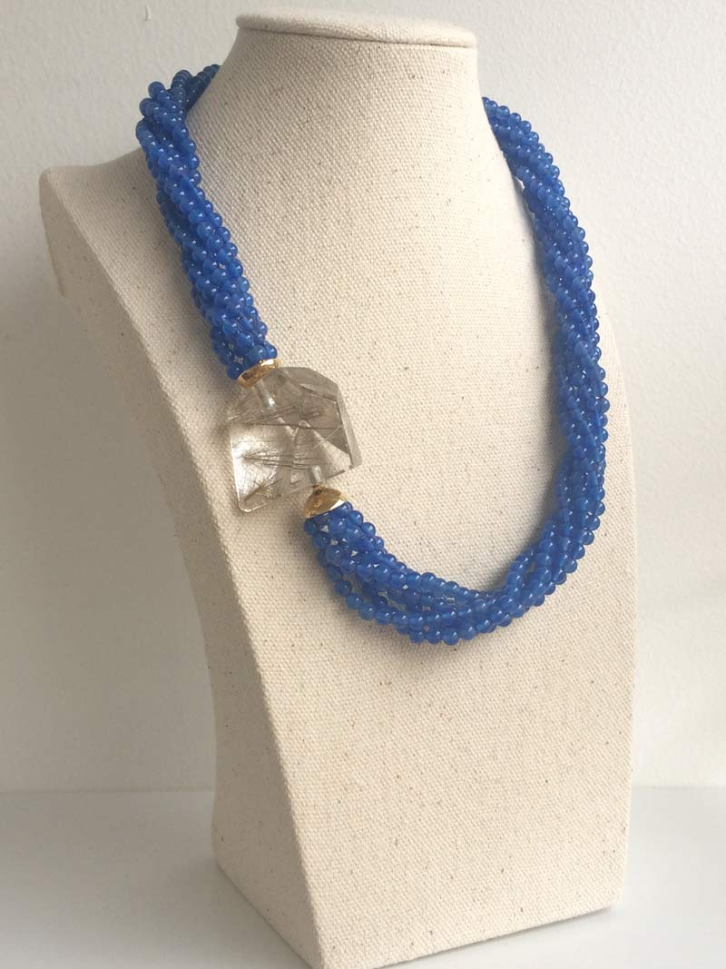 Blue agate multistrand necklace with interchangeable  rutilated quartz  clasp
