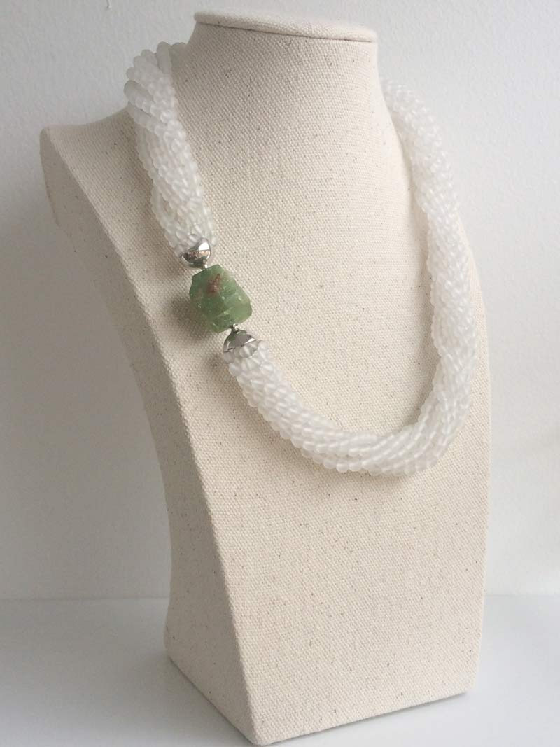 Mtte rock crystal multistrand necklace with interchangeable  tsavorite garnet  nugget clasp