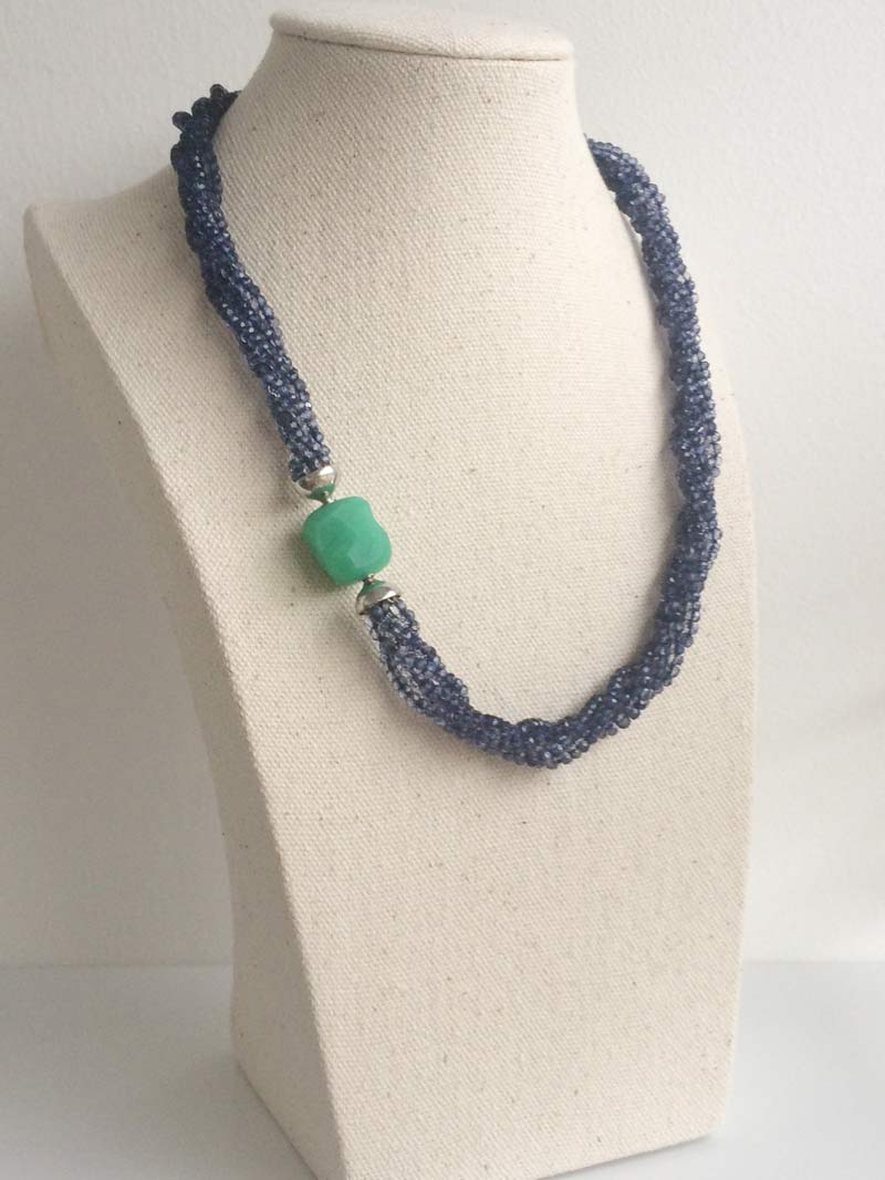 Kyanite multistrand necklace with removable chrysoprase nugget clasp