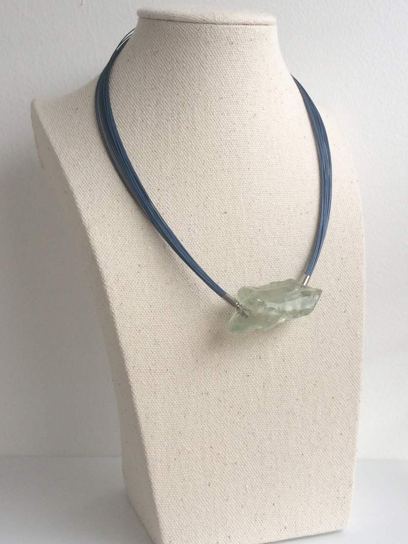 Blue wire multistrand necklace with interchangeable praseolite nugget clasp
