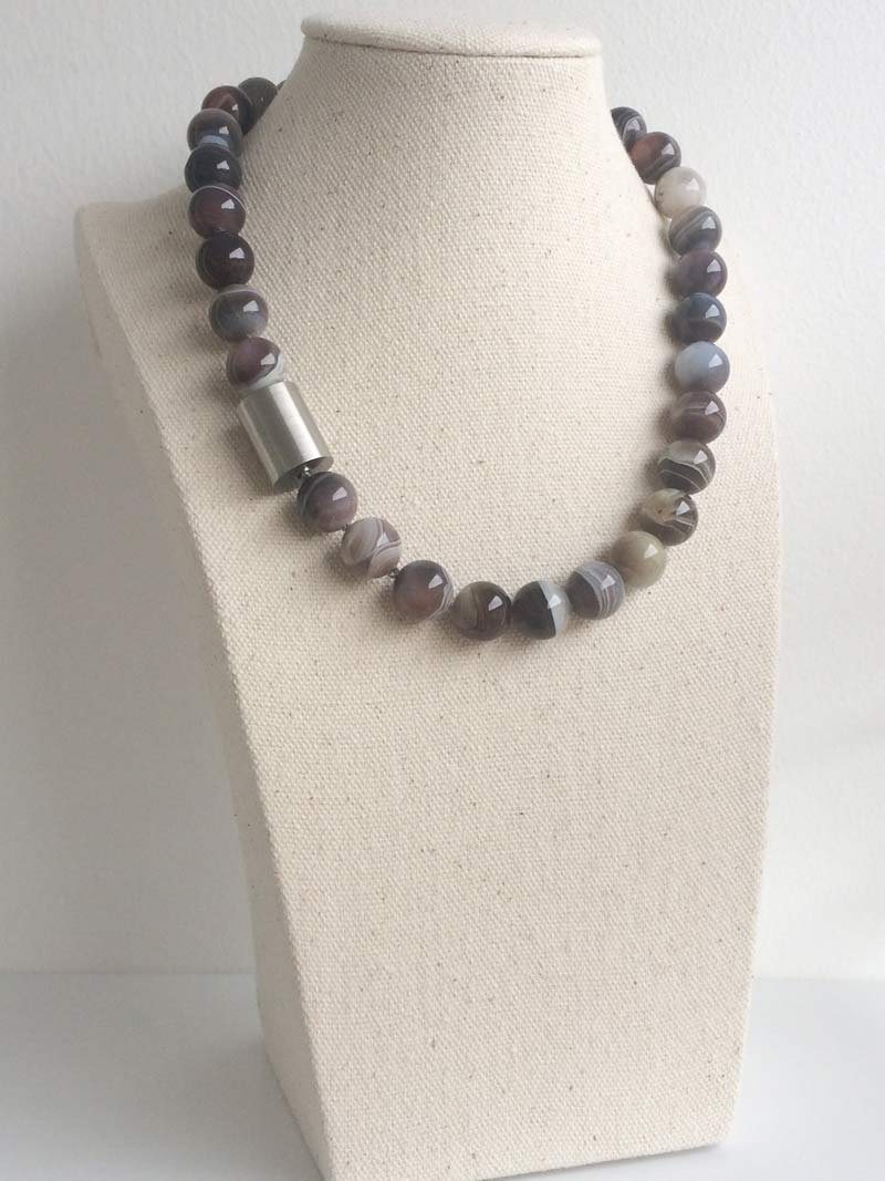 Botswana agate necklace with removable  steel cylinder  clasp