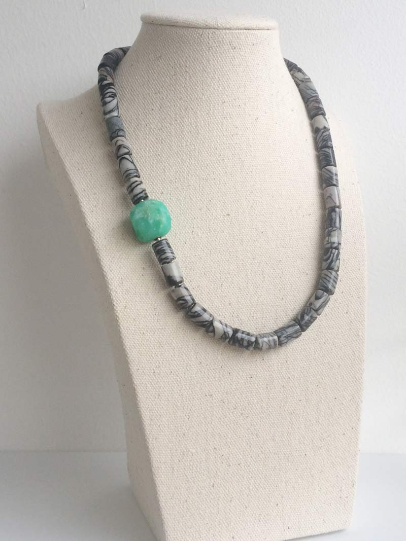 Picasso jasper cylinder necklace with interchangeable  chrysoprase nugget  clasp