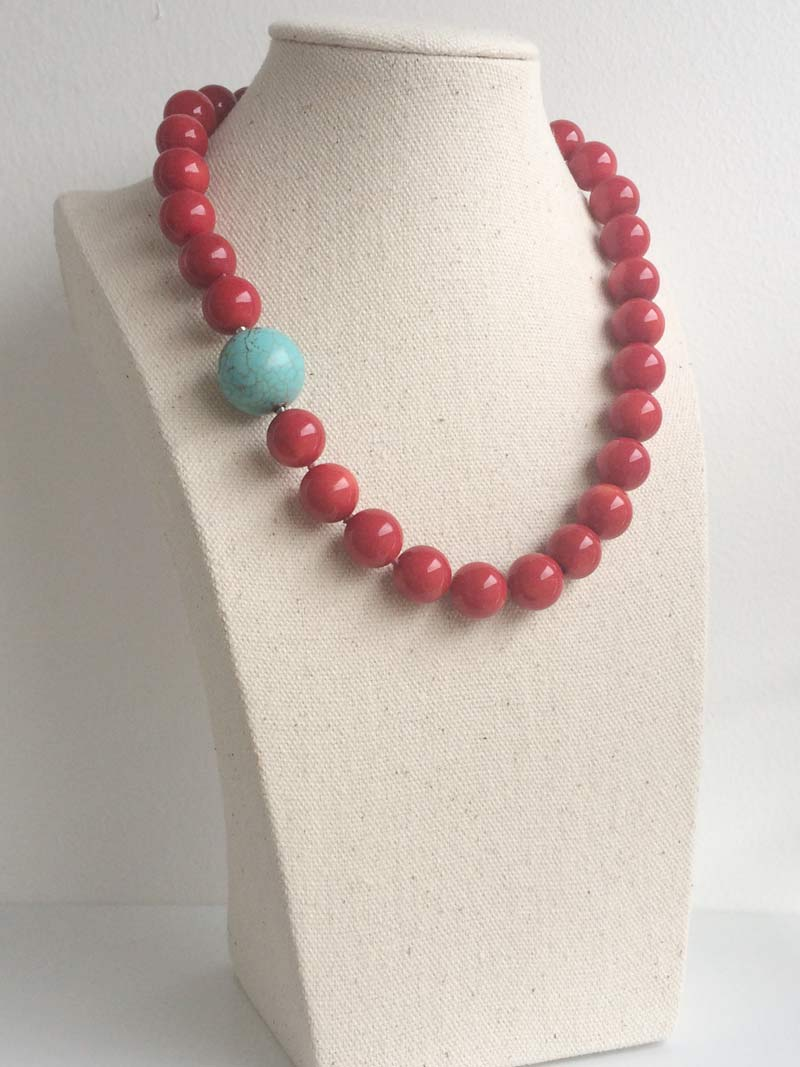 13mm red coral necklace with detatchable  blue howlite ball  clasp