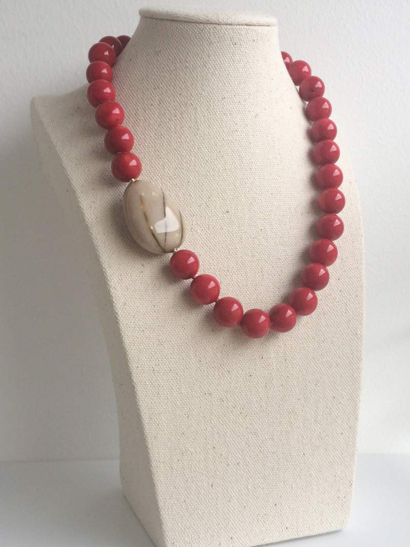 13mm red coral necklace with removable  jasper pebble  clasp