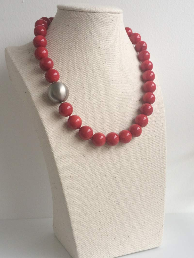 13mm red coral necklace with  20mm steel bal l clasp