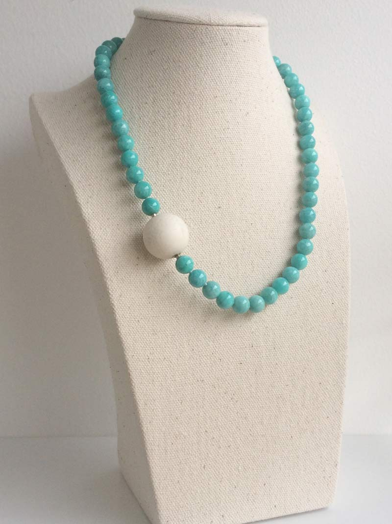 8mm amazonite necklace with 20mm white coral ball clasp