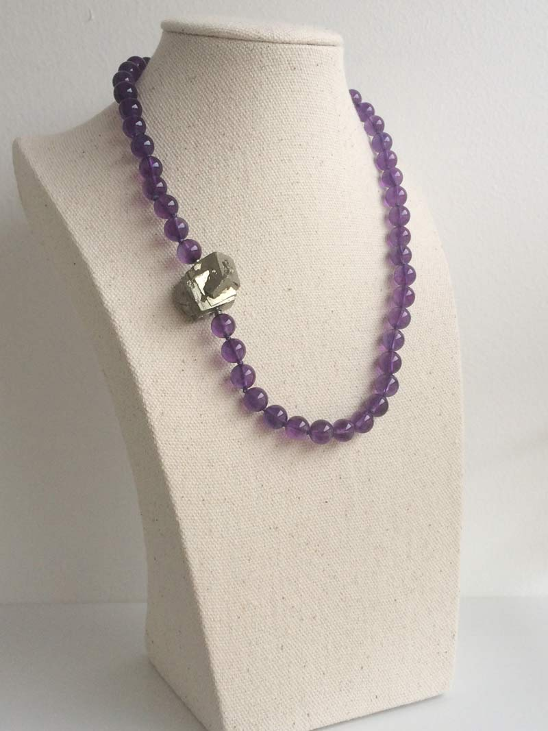 8mm amethyst bead necklace with pyrite feature nugget clasp