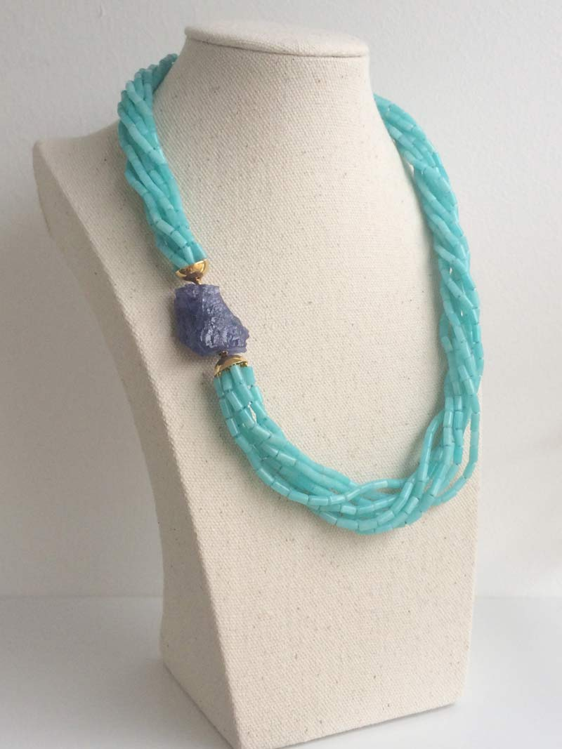 Amazonite multistrand necklace with removable rough tanzanite clasp