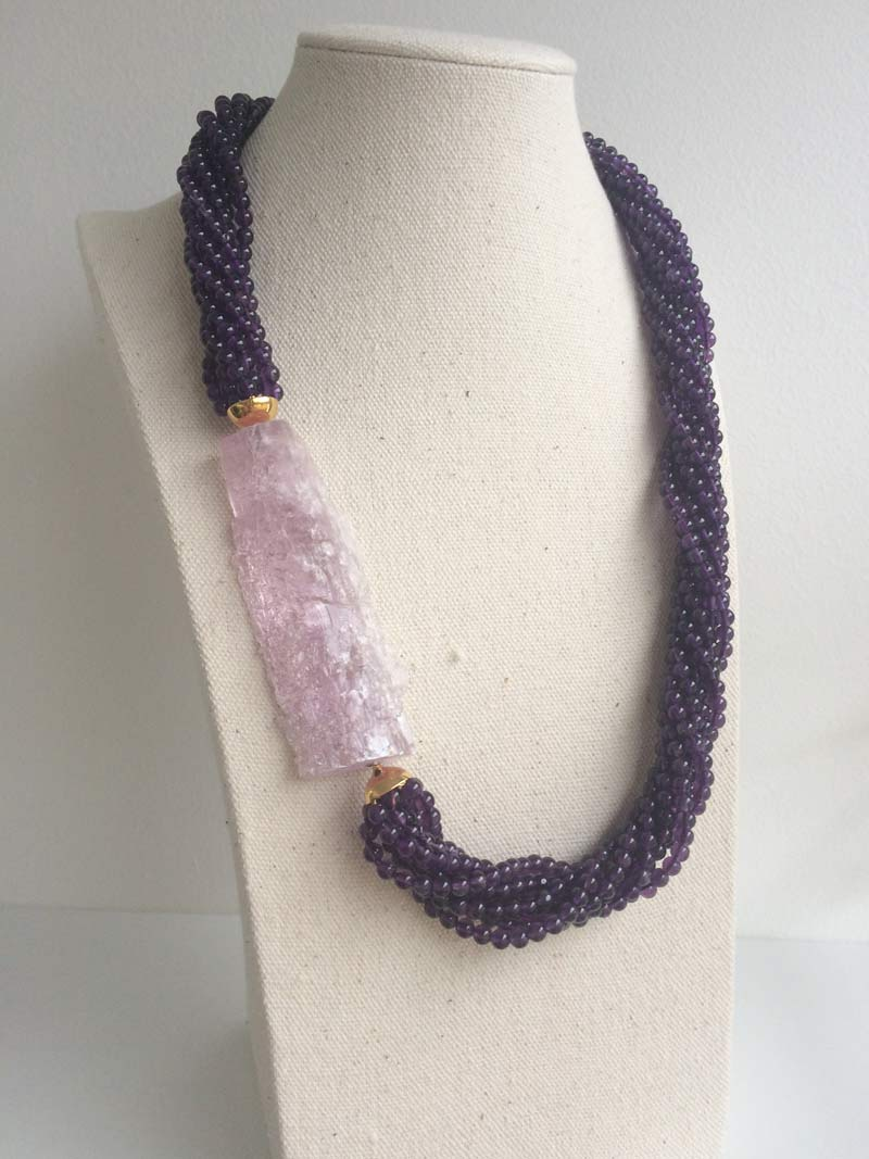 Amethyst 8 row multistrand necklace with detachable large rough kunzite clasp