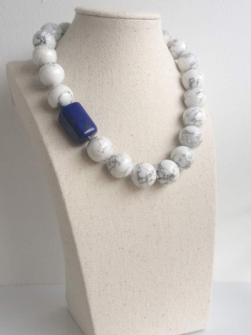 18mm howlite bead necklace with detachable lapis lazuli clasp