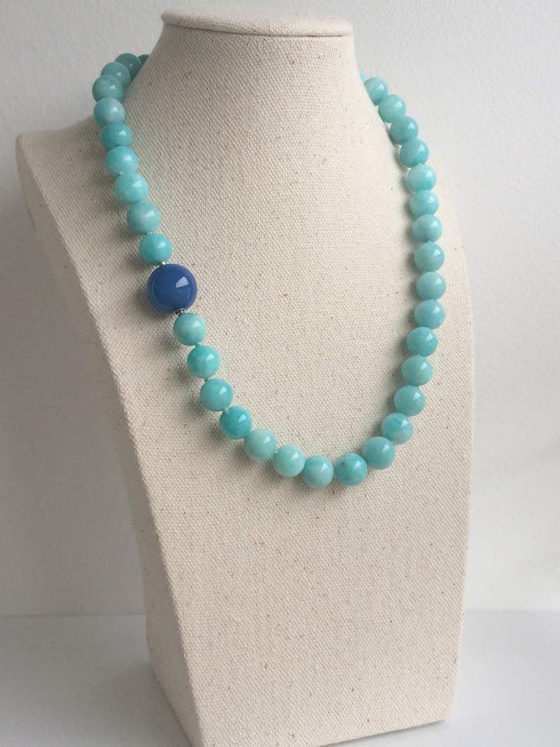 10mm amazonite necklace with detatchable 14mm blue agate ball clasp