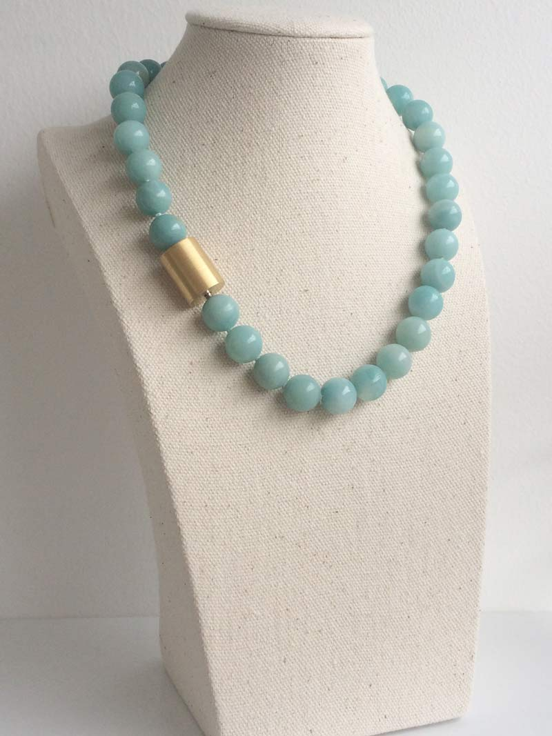 12mm amazonite necklace with large  gold cylinder  clasp