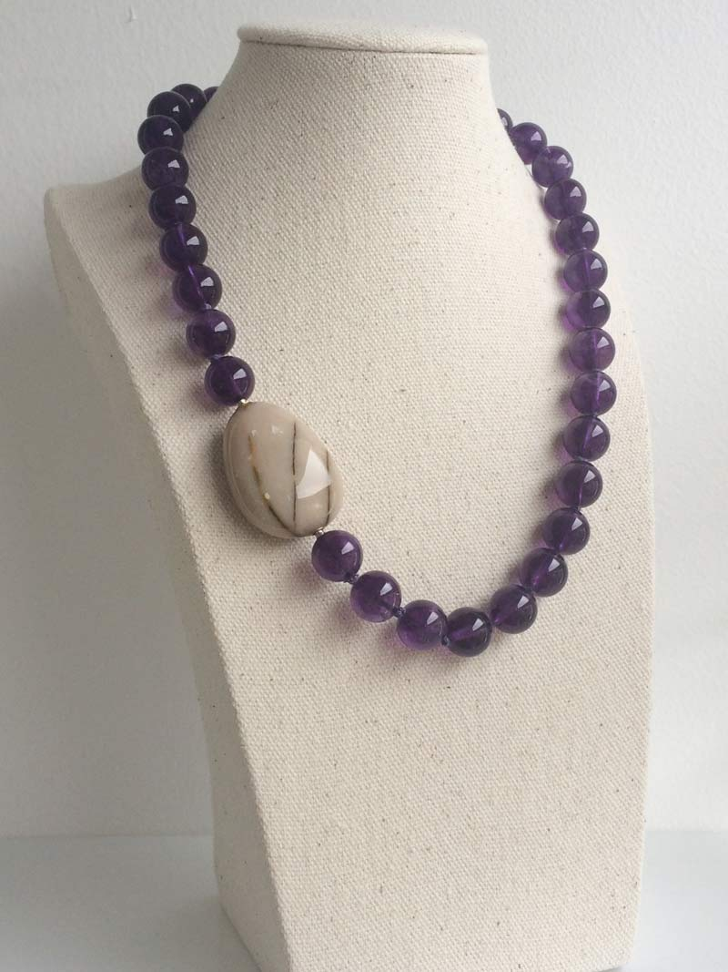 Amethyst bead necklace with interchangeable  jasper pebble  clasp