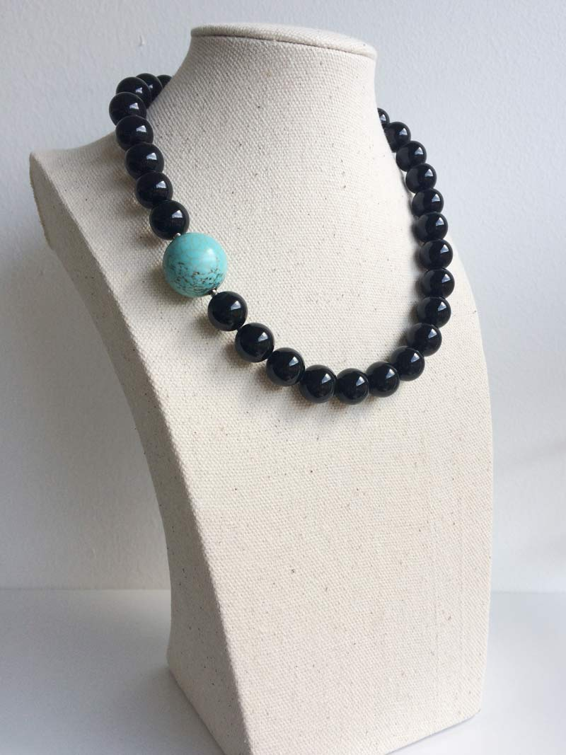 12mm black onyx bead necklace with detachable dyed blue howlite clasp