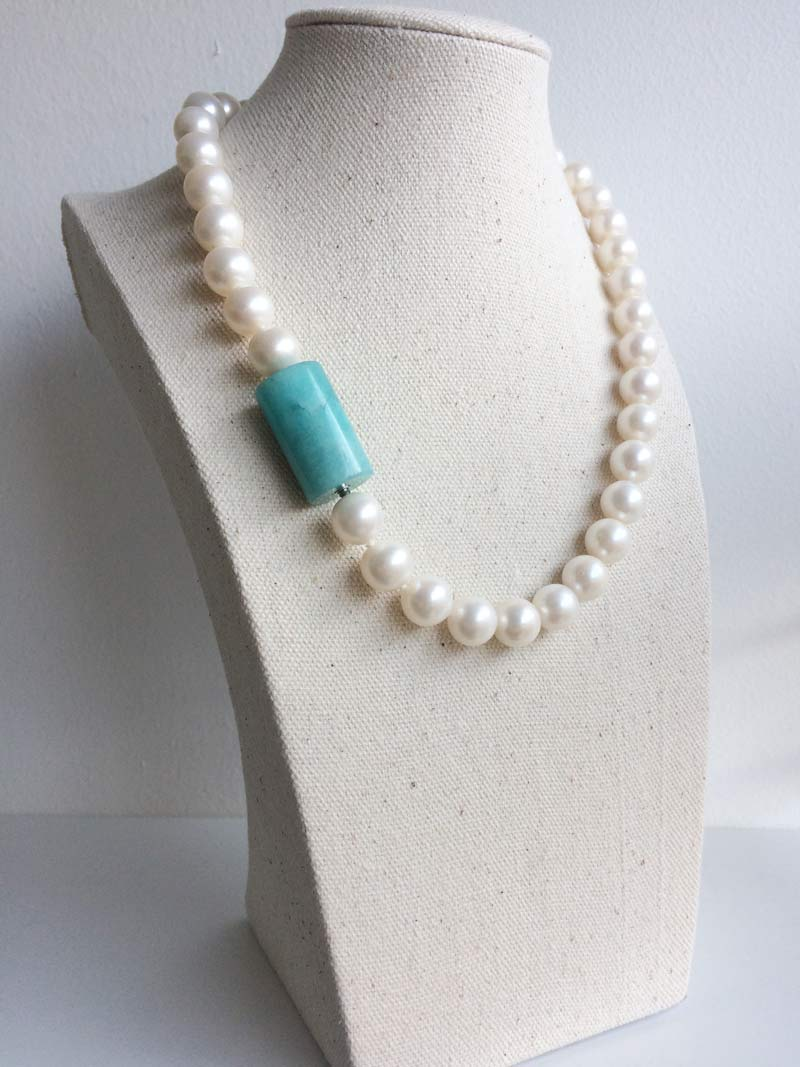 Cream freshwater pearl necklace with interchangeable  amazonite cylinder  clasp
