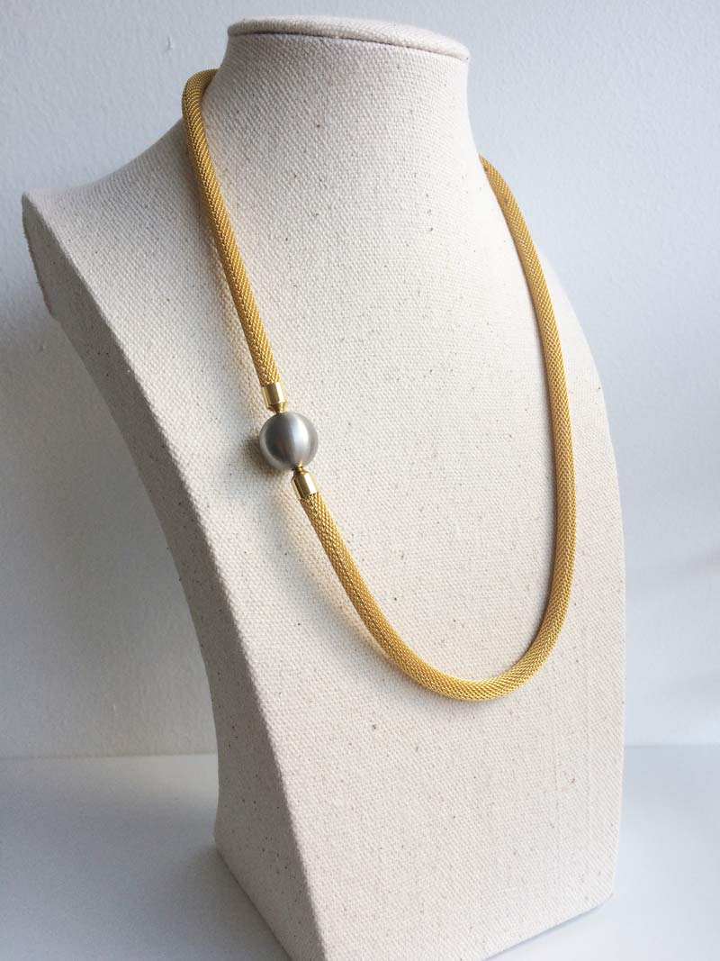 Gold mesh necklet with removable 14mm steel ball clasp