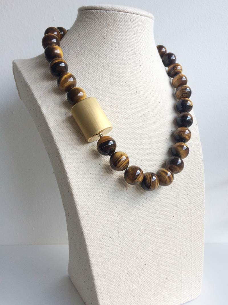 14mm tiger's eye necklace with extra large gold cylinder clasp