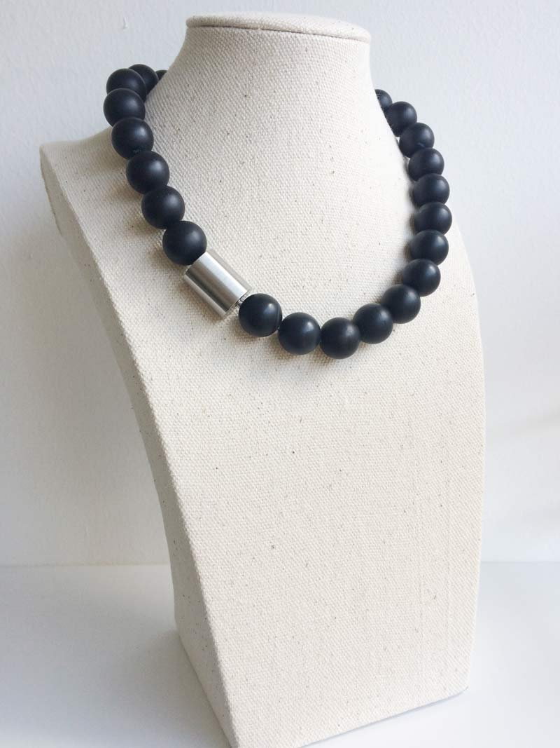14mm matt black onyx necklace with  large steel cylinder  clasp
