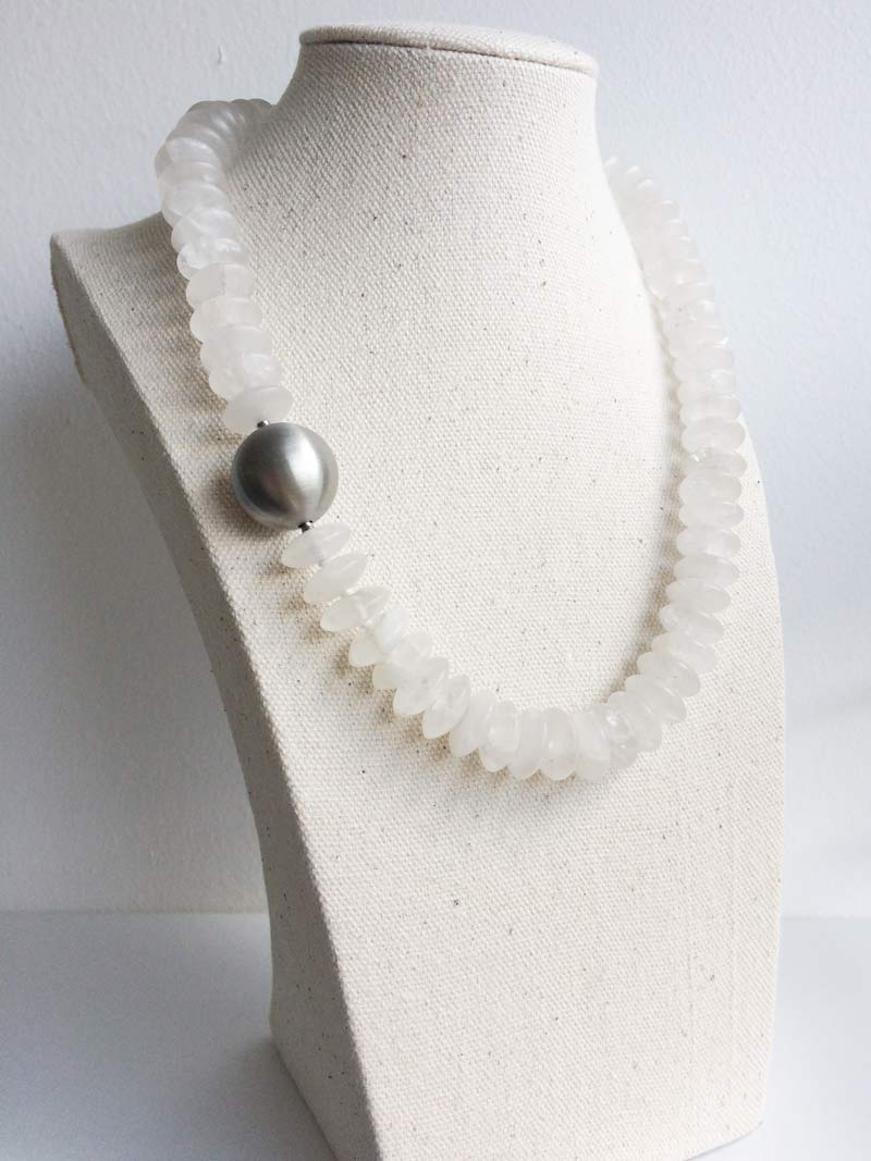 Matte rock crystal necklace with interchangeable  20mm steel ball  clasp