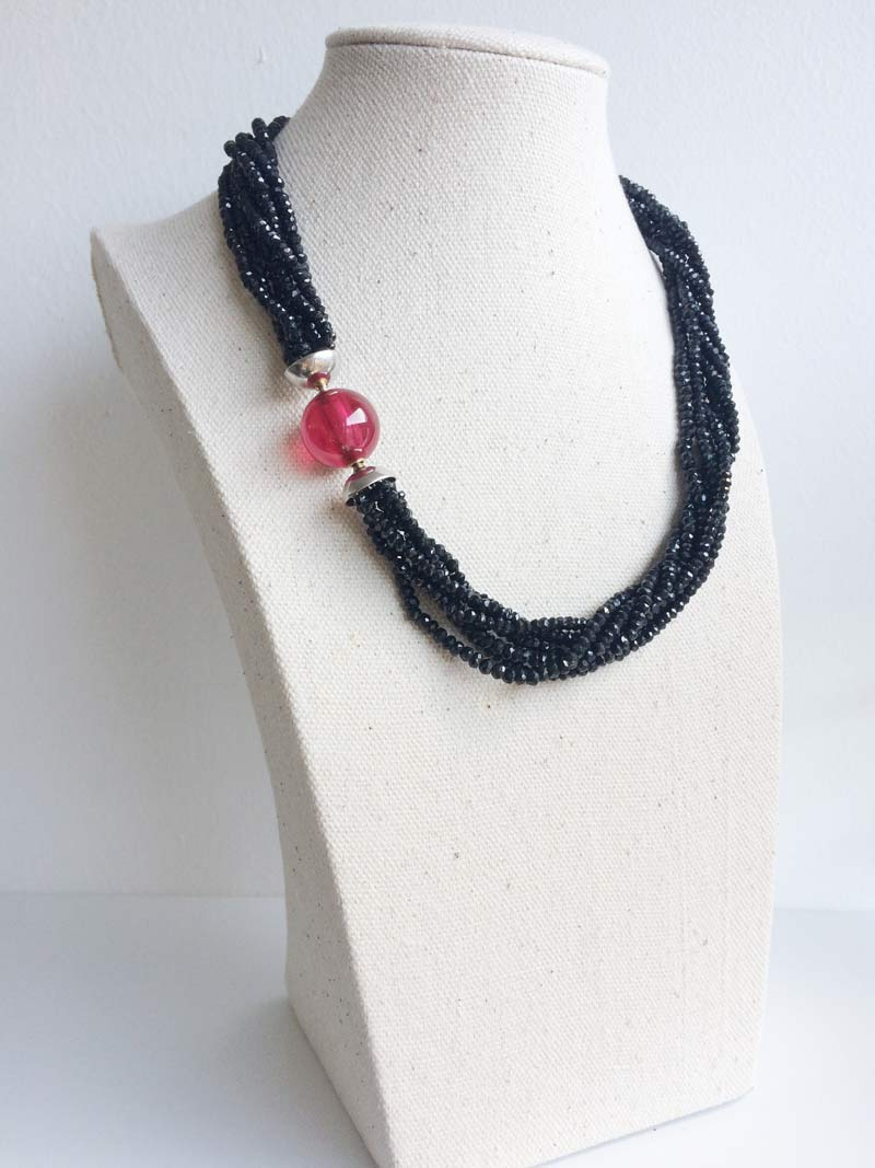 Black spinel multistrand necklace with interchangeable ruby ball clasp