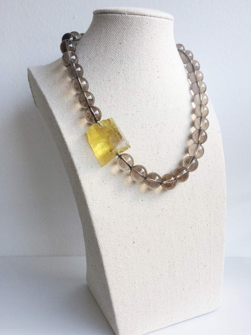 12mm smoky quartz necklace with interchangeable  yellow beryl clasp