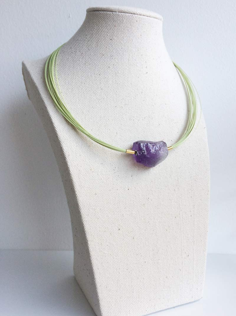 Green wire multistrand necklace with  pale amethyst  nugget clasp