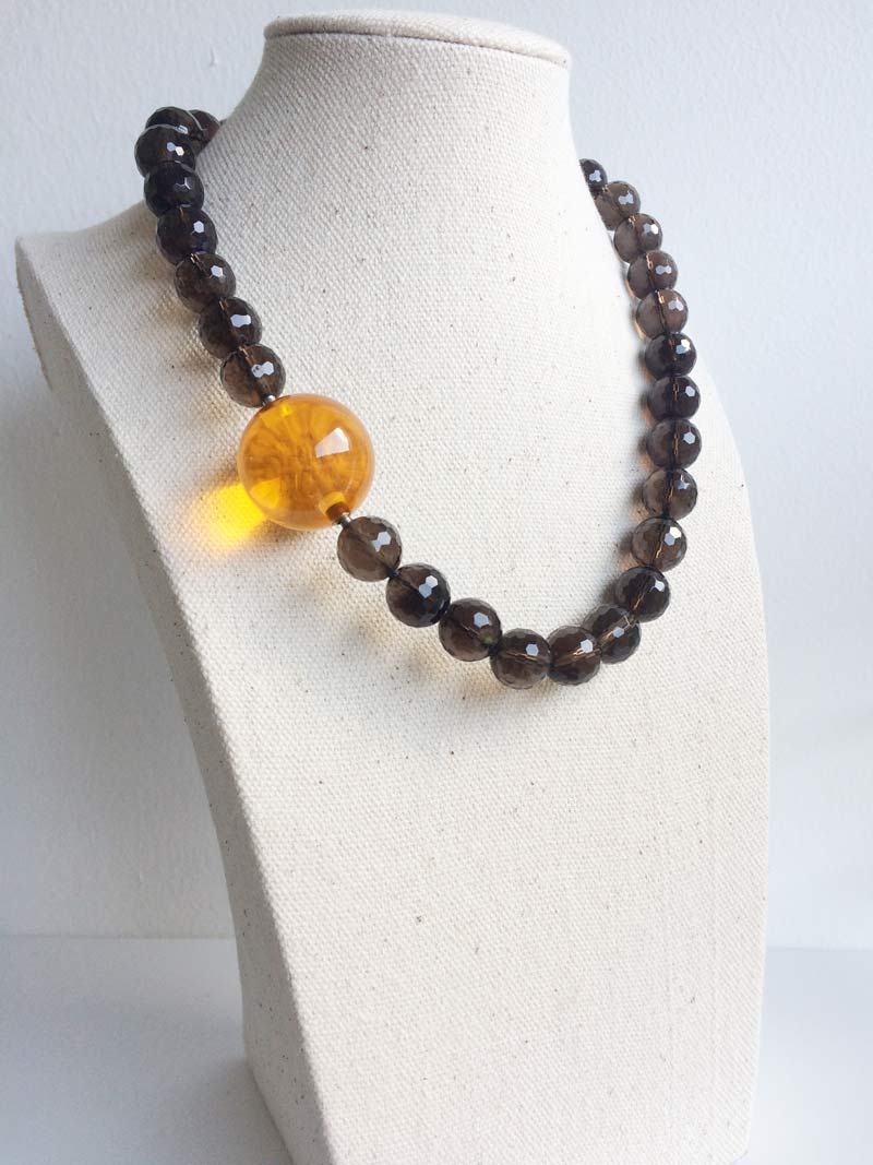 Faceted smoky quartz necklace with 25mm  yellow glass  ball clasp