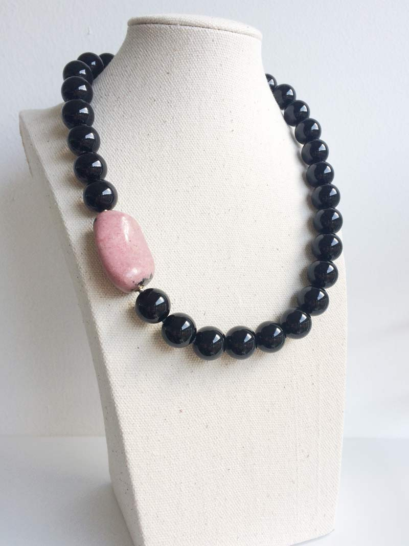 14mm black onyx necklace with  rhodonite  pebble clasp
