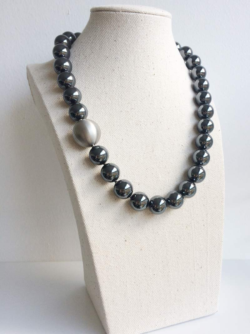 14mm haematite with  20mm steel ball clasp