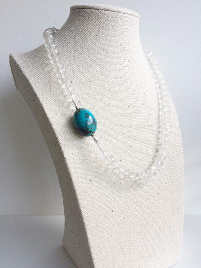 Faceted rock crystal necklace with interchangeable  turquoise ovoid  clasp