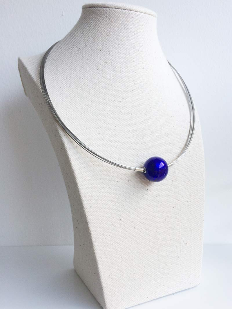 Steel multistrand and interchangeable  blue Murano  glass clasp
