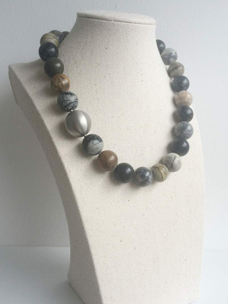 16mm Picasso jasper necklace with  20mm steel ball  clasp