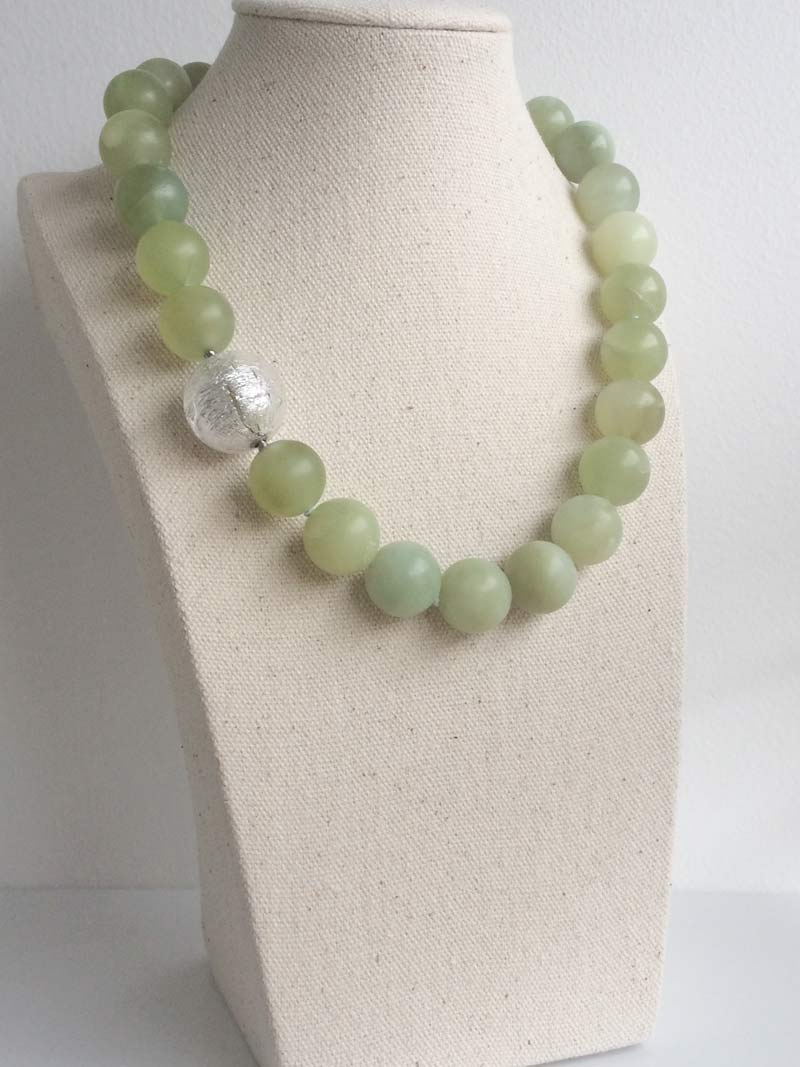 16mm serpentine necklace with interchangeable  silver Murano glass  clasp