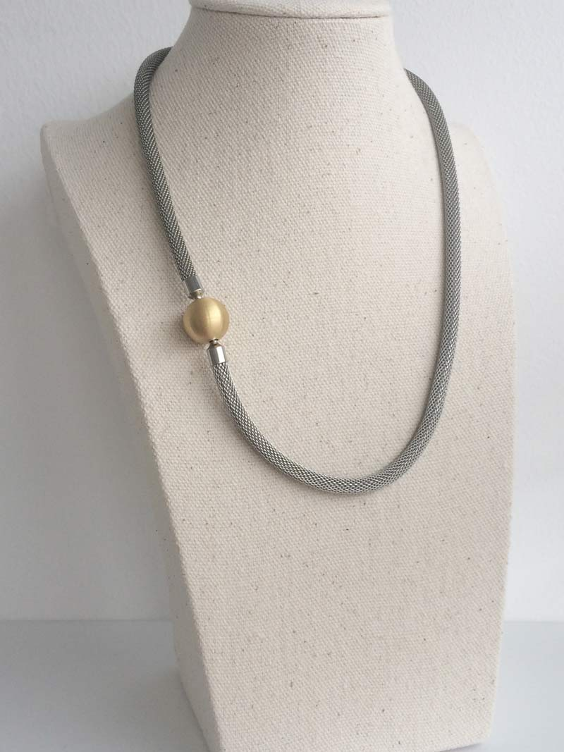 Steel mesh necklet with gold ball clasp