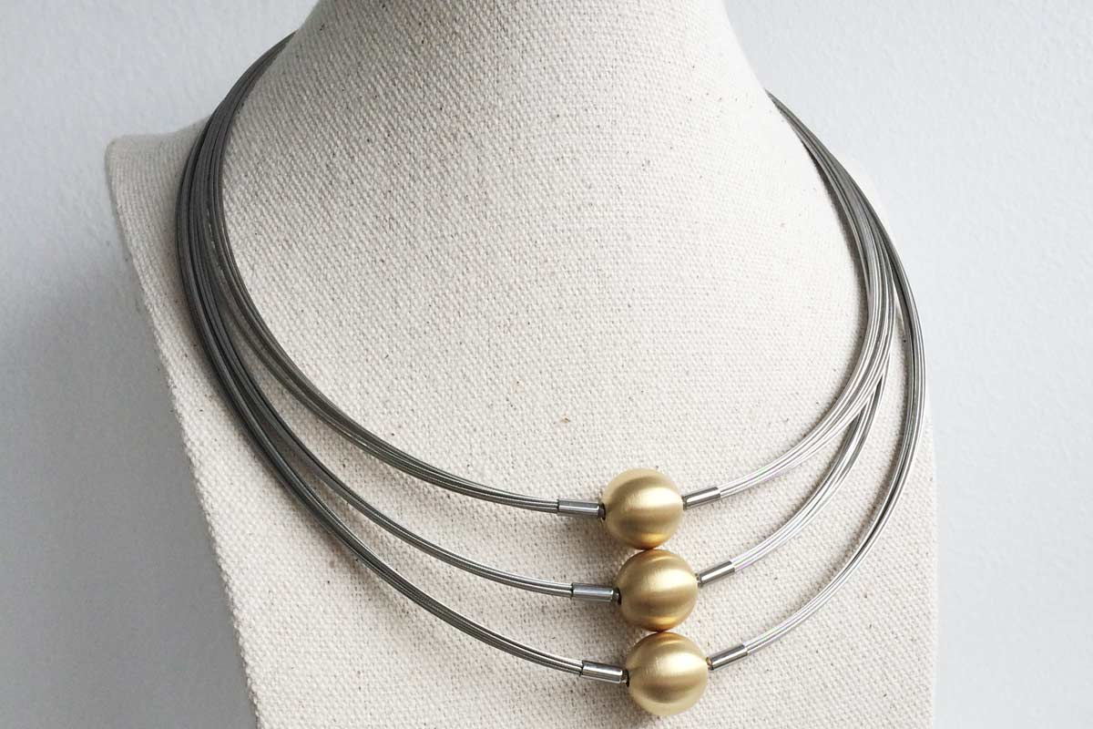 The three different length necklace combinations available
