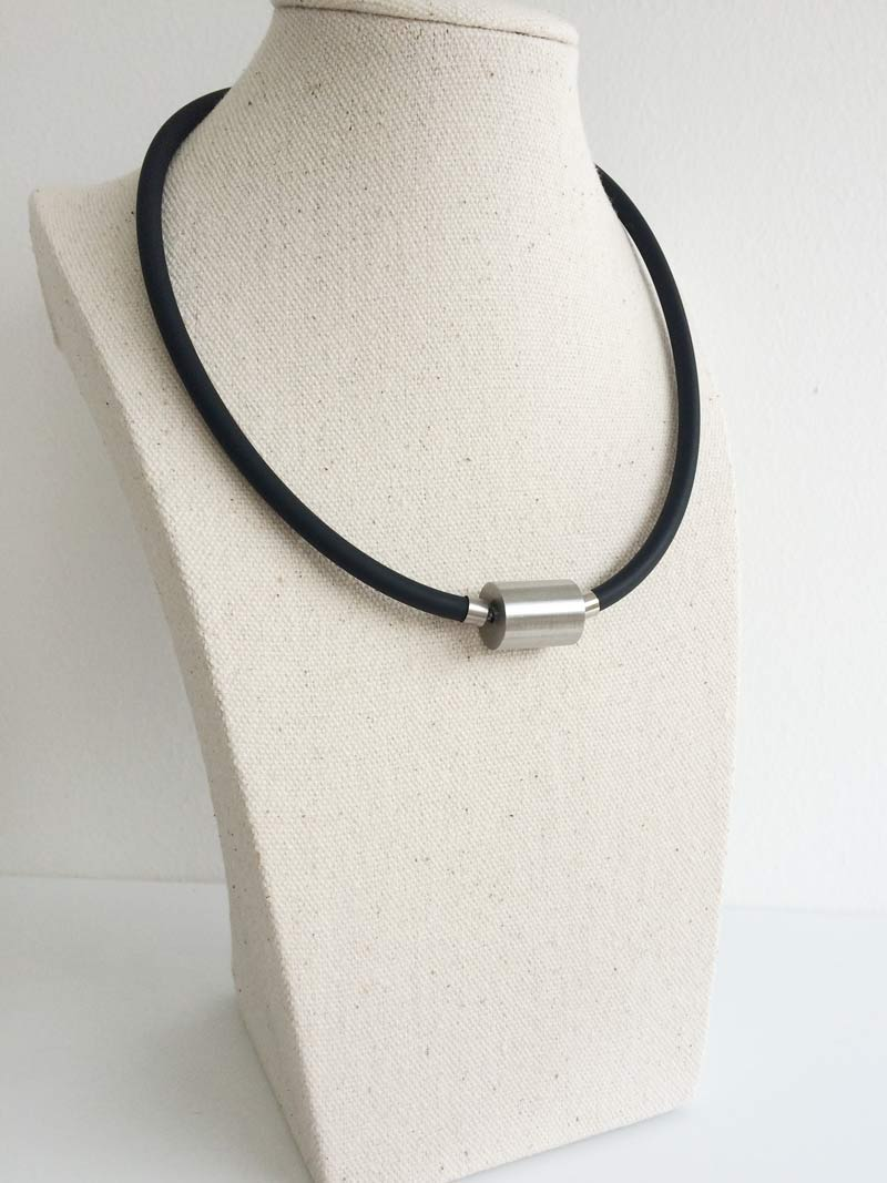 Black rubber interchangeable necklet with large steel cylinder clasp